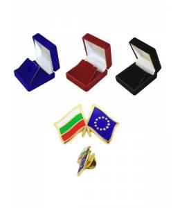 Значка със знамената на България и Европейския съюз