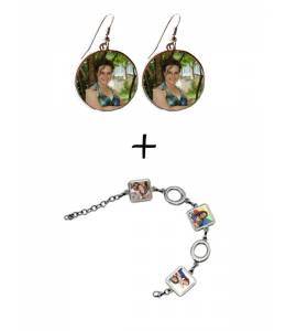 Bracelet and earrings with your photos