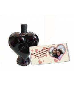 Бутилка вино сърце и шоколад със снимка и текст