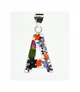 Сребърен Медальон с Буква с Истински Цветя