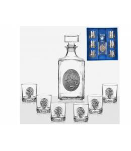 Alcohol bottle and 6 glasses for jubilee