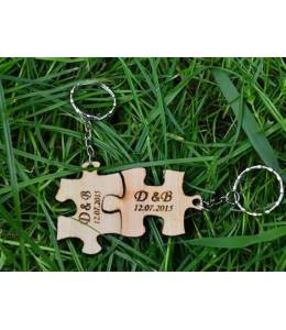 Wooden keychains puzzle