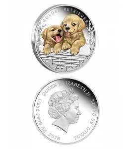 Сребърна монета кученца - голдън ретривър