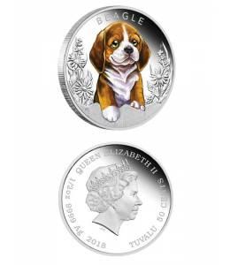 Сребърна монета кученце - бигъл