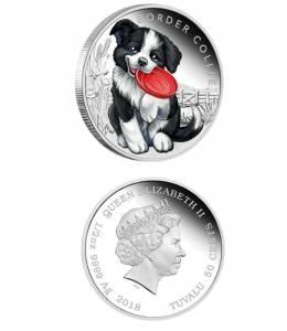 Сребърна монета кученце - бордър коли