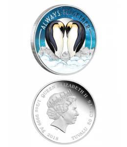 """Сребърна монета """"Винаги заедно-пингвини"""""""