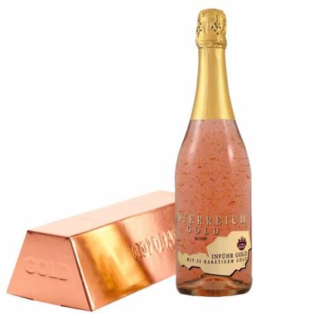 Шампанско със златни частици, розе