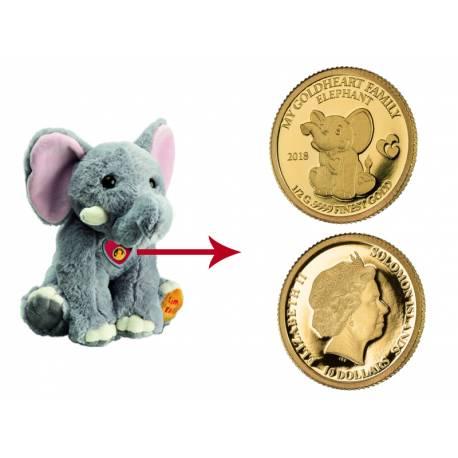 Златна монета с плюшено слонче Moya