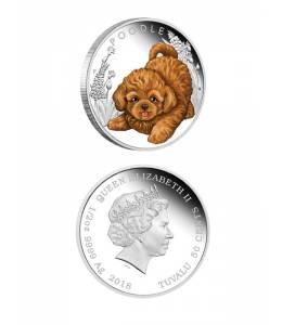 Сребърна монета кученце - пудел