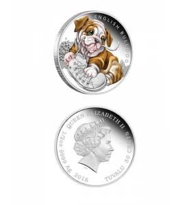 Сребърна монета кученце - Английски булдог