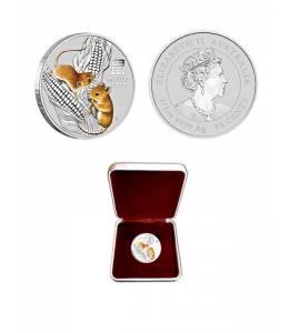 Сребърна монета 1/2 oz Годината на мишката, частично оцветена