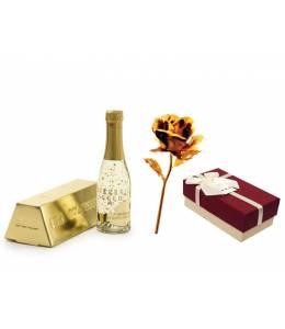 Златно шампанско и малка златна роза