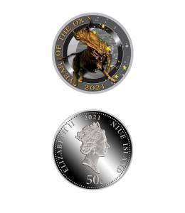 """Сребърна монета """"Годината на бика 2021 със звезди"""""""