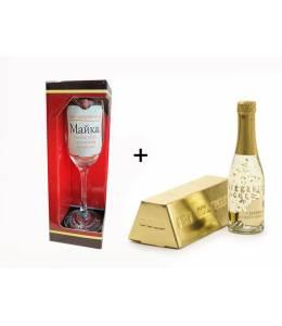Златно шампанско и чаша за мама