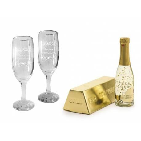 Златно шампанско и 2 чаши за годишнина