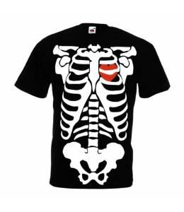 Мъжка тениска скелет и сърце